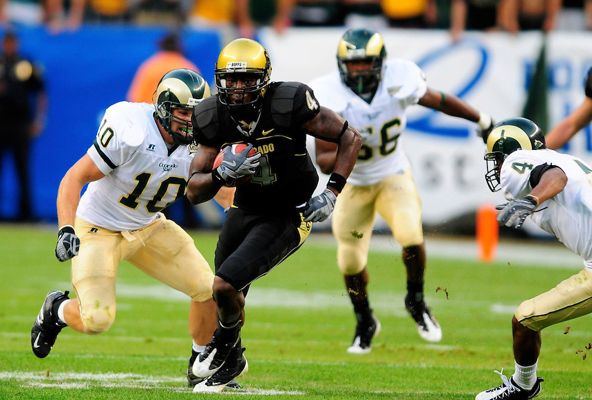 31 Aug 2008: Colorado wide receiver Patrick Williams carries the ball against Colorado State. The Colorado Buffaloes defeated the Colorado State Rams 38-17 at Invesco Field at Mile High in Denver, Colorado. FOR EDITORIAL USE ONLY