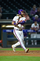 Reed Rohlman (26) of the Clemson Tigers follows through on his swing against the Duke Blue Devils in Game Three of the 2017 ACC Baseball Championship at Louisville Slugger Field on May 23, 2017 in Louisville, Kentucky. The Blue Devils defeated the Tigers 6-3. (Brian Westerholt/Four Seam Images)