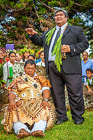 Makirau Haurua during his investiture with the Teurukura Ariki title, Aitutaki Island, Cook Islands.