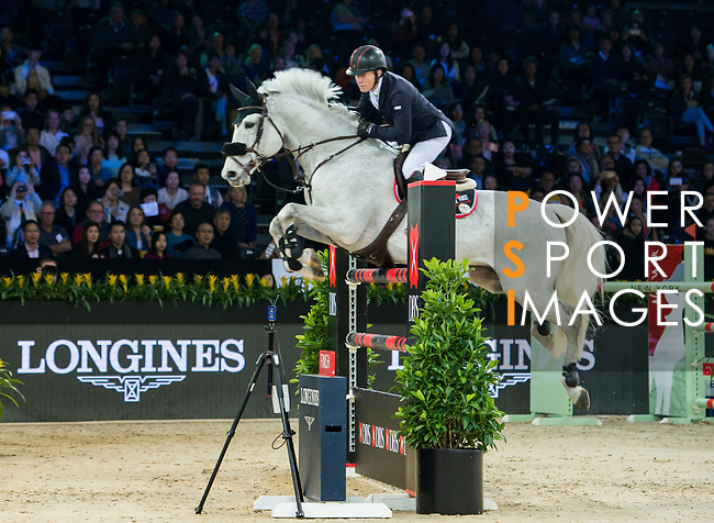 Michael Whitaker of Great Britain riding Valentin R Longines Masters of Hong Kong at AsiaWorld-Expo on 11 February 2018, in Hong Kong, Hong Kong. Photo by Christopher Palma / Power Sport Images