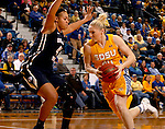 BROOKINGS, SD - NOVEMBER 14:  Mariah Clarin #40 from South Dakota State University drives against Morgan Bailey #41 from Brigham Young in the second half of their game Friday night at Frost Arena.  (Photo by Dave Eggen/Inertia)