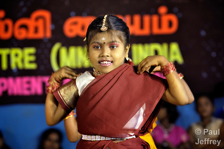 A dancer in a rally celebrating International Women's Day in Madurai, a city in Tamil Nadu state in southern India.