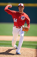 Buffalo Bisons pitcher Casey Lawrence (54) delivers a pitch during a game against the Louisville Bats on May 2, 2015 at Coca-Cola Field in Buffalo, New York.  Louisville defeated Buffalo 5-2.  (Mike Janes/Four Seam Images)