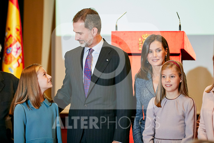 King Felipe VI of Spain, Queen Letizia of Spain, Princess Leonor of Spain and Princess Sofia of Spain attends to the Reading of the Spanish Constitution for the 40th anniversary of its approval by the Congress at Instituto Cervantes in Madrid, Spain. October 31, 2018. (ALTERPHOTOS/A. Perez Meca)