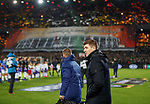 28.11.2019: Feyenoord v Rangers: Steven Gerrard looking at the Rangers fans pyro display as he comes out of the tunnel