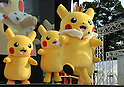 """August 12, 2016, Yokohama, Japan - Pikachu characters, Nintendo's videogame software Pokemon's wellknown character, perform dancing at a show """"Super Soaking Splash Show"""" in Yokohama, suburban Tokyo on Friday, August 12, 2016. The Pikachu mascots perfom the several shows daily to attract summer vacationers as a part of the """"Great Pikachu Outbreak"""" event through August 14.    (Photo by Yoshio Tsunoda/AFLO) LWX -ytd-"""