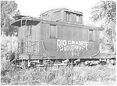 RGS caboose #0402 at Ridgway, CO.<br /> RGS  Ridgway, CO  Taken by Schick, Joe - 9/29/1947