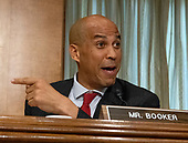 """United States Senator Cory Booker (Democrat of New Jersey) questions US Secretary of State Mike Pompeo as he testifies before the US Senate Committee on Foreign Relations on """"An update on American Diplomacy to Advance our National Security Strategy"""" on Capitol Hill in Washington, DC on Wednesday, July 25, 2018.  Pompeo took questions on the Helsinki Summit with President Putin of Russia and progress on the denuclearization of North Korea.<br /> Credit: Ron Sachs / CNP"""