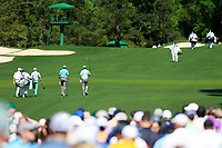 \Fred Couples (USA), Justin Thomas (USA) Tiger Woods (USA) and Kevin Kisner (USA) on the 3rd fairway during Wednesdays preview at the The Masters , Augusta National, Augusta, Georgia, USA. 10/04/2019.<br /> Picture Fran Caffrey / Golffile.ie<br /> <br /> All photo usage must carry mandatory copyright credit (&copy; Golffile | Fran Caffrey)