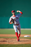 Clearwater Threshers starting pitcher Ethan Evanko (49) during a Florida State League game against the Dunedin Blue Jays on May 11, 2019 at Jack Russell Memorial Stadium in Clearwater, Florida.  Clearwater defeated Dunedin 9-3.  (Mike Janes/Four Seam Images)