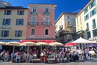 CHE, Schweiz, Tessin, Lugano: Cafes auf der Piazza della Riforma | CHE, Switzerland, Ticino, Lugano: Cafes at Piazza della Riforma