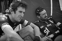 Team SKY collectively sat down in the velodrome grass after the race before heading back to the team bus.<br /> Sir Bradley Wiggins (GBR/SKY)  was dreaming away at this point after finishing a strong 9th and sitting next to Geraint Thomas (GBR/SKY) who finished 7th.<br /> <br /> Paris-Roubaix 2014