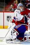 31 March 2010: Montreal Canadiens' goaltender Carey Price warms up prior to a game against the Carolina Hurricanes at the Bell Centre in Montreal, Quebec, Canada. The Hurricanes defeated the Canadiens 2-1 in their last meeting of the regular season. Mandatory Credit: Ed Wolfstein Photo