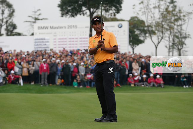 Thongchai Jaidee (THA) on the 18th during the final round of the BMW Masters, Lake Malarian Golf Club, Boshan, Shanghai, China.  15/11/2015.<br /> Picture: Golffile | Fran Caffrey<br /> <br /> <br /> All photo usage must carry mandatory copyright credit (&copy; Golffile | Fran Caffrey)
