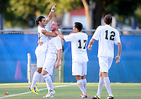 Florida International University men's soccer player Lucas Di Croce (10) celebrates his goal against Nova University on August 26, 2011 at Miami, Florida. FIU won the game 2-0. .