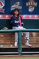 New Hampshire Fisher Cats Bo Bichette (5) in the dugout during the second game of a doubleheader against the Harrisburg Senators on May 13, 2018 at FNB Field in Harrisburg, Pennsylvania.  Harrisburg defeated New Hampshire 2-1.  (Mike Janes/Four Seam Images)