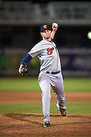 Brevard County Manatees relief pitcher Zach Hirsch (17) delivers a pitch during a game against the Fort Myers Miracle on April 13, 2016 at Hammond Stadium in Fort Myers, Florida.  Fort Myers defeated Brevard County 3-0.  (Mike Janes/Four Seam Images)