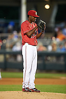 Harrisburg Senators pitcher Wander Suero (17) gets ready to deliver a pitch during a game against the New Hampshire Fisher Cats on July 21, 2015 at Metro Bank Park in Harrisburg, Pennsylvania.  New Hampshire defeated Harrisburg 7-1.  (Mike Janes/Four Seam Images)