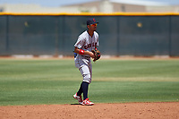 AZL Indians Red shortstop Yordys Valdes (10) during an Arizona League game against the AZL Indians Blue on July 7, 2019 at the Cleveland Indians Spring Training Complex in Goodyear, Arizona. The AZL Indians Blue defeated the AZL Indians Red 5-4. (Zachary Lucy/Four Seam Images)