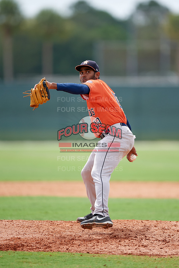 GCL Astros pitcher Saul Martinez (19) during a game against the GCL Marlins on July 22, 2017 at Roger Dean Stadium Complex in Jupiter, Florida.  GCL Astros defeated the GCL Marlins 5-1, the game was called in the seventh inning due to rain.  (Mike Janes/Four Seam Images)