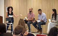"""Performing Racial Justice - panel discussion and Q&A with innovative Los Angeles-based arts professionals whose work is actively rooted in identity and racial justice, October 18, 2016 in Lower Herrick, sponsored by Oxy Arts.<br /> How can our creative practice actively impact the fabric of society? Why is art integral to every social justice movement? Performing Racial Justice brings together six LA-based arts professionals whose work is actively rooted in racial justice to discuss their practices, and to participate in a moderated panel about creating performance-based work with social impact. The panel was part discussion and part performance, including dynamic LA artists such Aleshea Harris (""""What To Send Up When It Goes Down""""), Douglas Kearney (The Black Automaton), Bruce Lemon, Jr. (Watts Village Theatre Company), Maya Jupiter (Artivist Entertainment), Traci Kato-Kiriyama (Tuesday Nights at the Café), and Oxy Alum Faith Santilla (""""Beats, Rhymes and Resistance"""").<br /> (Photo by Marc Campos, Occidental College Photographer)"""
