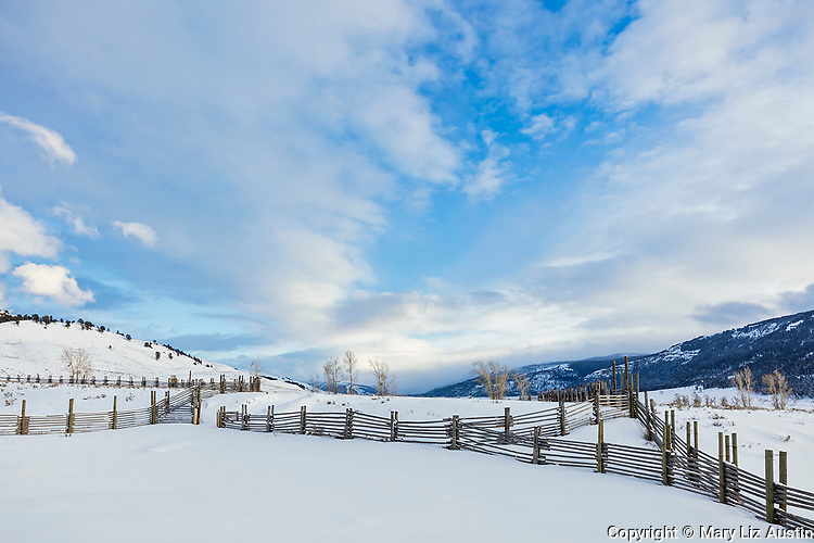 Yellowstone National Park, WY: Corral fences at the Lamar Buffalo Ranch in Lamar Valley.