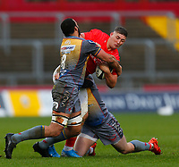 29th February 2020; Thomond Park, Limerick, Munster, Ireland; Guinness Pro 14 Rugby, Munster versus Scarlets; Chris Farrell of Munster is tackled by Uzair Cassiem of Scarlets