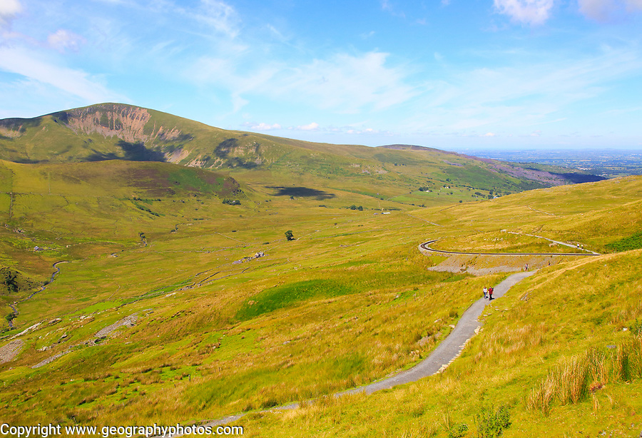 Upland landscape view to Moel Eilio mountain, Mount Snowdon, Gwynedd, Snowdonia, north Wales, UK