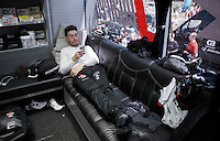 Giacomo Nizzolo (ITA/Trek-Segafredo) relaxing in the back of the team bus ahead of stage 1: Apeldoorn prologue 9.8km<br /> <br /> 99th Giro d'Italia 2016