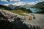 The peloton descending during Stage 11 of the 2018 Tour de France running 108.5km from Albertville to La Rosiere Espace San Bernardo, France. 18th July 2018. <br /> Picture: ASO/Pauline Ballet   Cyclefile<br /> All photos usage must carry mandatory copyright credit (&copy; Cyclefile   ASO/Pauline Ballet)