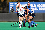 DURHAM, NC - NOVEMBER 11: Miami's Allie Grace Joyner (10) and Duke's Alexa Mackintire (right). The Duke University Blue Devils hosted the Miami University (Ohio) Redhawks on November 11, 2017 at Jack Katz Stadium in Durham, NC in an NCAA Division I Field Hockey Tournament First Round game. Duke won the game 4-2.