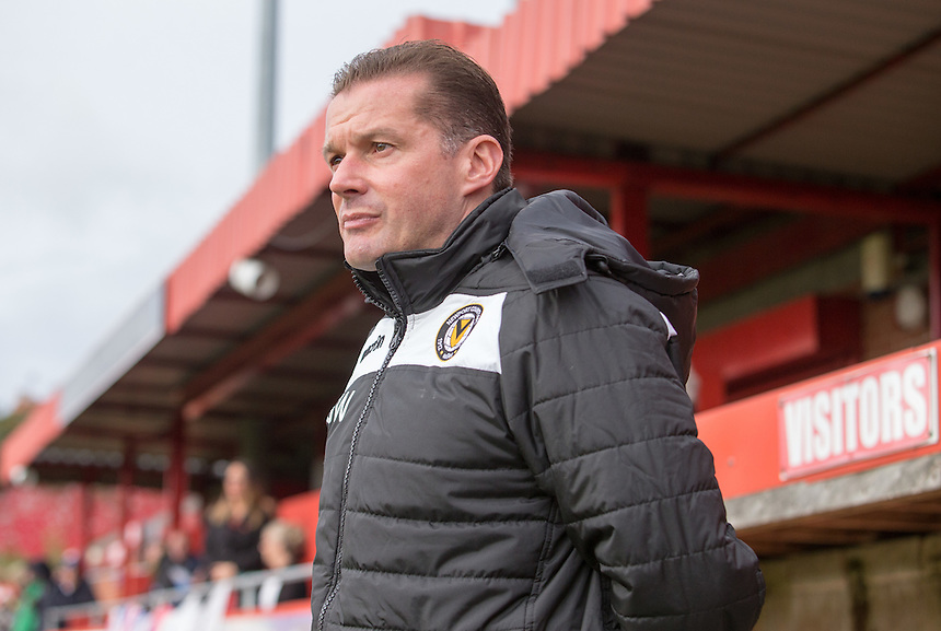Newport County manager Graham Westley<br /> <br /> Photographer James Williamson/CameraSport<br /> <br /> The Emirates FA Cup First Round - Alfreton Town v Newport County - Sunday 6th November 2016 - North Street - Alfreton<br />  <br /> World Copyright &copy; 2016 CameraSport. All rights reserved. 43 Linden Ave. Countesthorpe. Leicester. England. LE8 5PG - Tel: +44 (0) 116 277 4147 - admin@camerasport.com - www.camerasport.com