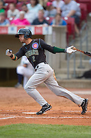Kane County Cougars outfielder Albert Almora #2 bats during a game against the Cedar Rapids Kernels at Veterans Memorial Stadium on June 8, 2013 in Cedar Rapids, Iowa. (Brace Hemmelgarn/Four Seam Images)
