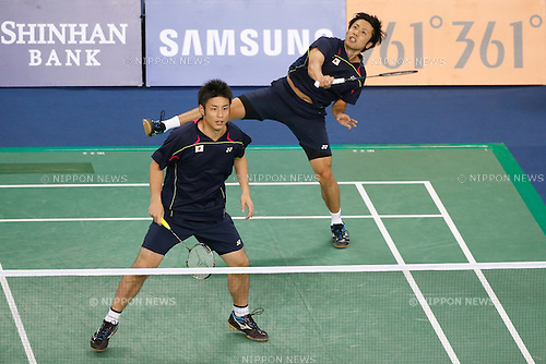 (L to R) Kenichi Hayakawa,  Hiroyuki Endo (JPN), <br /> SEPTEMBER 21, 2014 - Badminton : <br /> Men's Team Round 2 <br /> at Gyeyang Gymnasium <br /> during the 2014 Incheon Asian Games in Incheon, South Korea. <br /> (Photo by AFLO SPORT) [1180]
