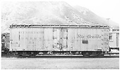 Side view of D&amp;RGW short refrigerator car #53 in Durango yard.<br /> D&amp;RGW  Durango, CO  9/1949