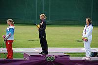 Zuzana Stefecekova Russia Silver Medal, Jessica Rossi, Delphine Reau France Bronze Medal Gold Medal Women's shooting.London 4/8/2012 Royal Artillery Basrracks.London 2012 Olympic games - Olimpiadi Londra 2012.Shooting - Tiro / Trap.Foto Insidefoto