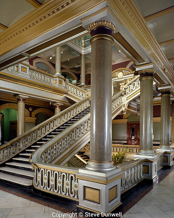 City Hall interior, 1875, Providence, RI stairway