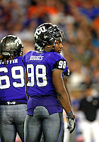 Jan. 4, 2010; Glendale, AZ, USA; TCU Horned Frogs defensive end (98) Jerry Hughes against the Boise State Broncos in the 2010 Fiesta Bowl at University of Phoenix Stadium. Mandatory Credit: Mark J. Rebilas-