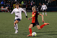 Rochester, NY - Friday April 29, 2016: Washington Spirit forward Katie Stengel (12) and Western New York Flash defender Alanna Kennedy (8). The Washington Spirit defeated the Western New York Flash 3-0 during a National Women's Soccer League (NWSL) match at Sahlen's Stadium.