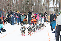 Meredith Mapes and team run past spectators on the bike/ski trail near University Lake with an Iditarider in the basket and a handler during the Anchorage, Alaska ceremonial start on Saturday, March 7 during the 2020 Iditarod race. Photo © 2020 by Ed Bennett/Bennett Images LLC