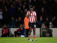 Lincoln City's Bernard Mensah reacts after his penalty miss<br /> <br /> Photographer Chris Vaughan/CameraSport<br /> <br /> The EFL Checkatrade Trophy Northern Group H - Lincoln City v Wolverhampton Wanderers U21 - Tuesday 6th November 2018 - Sincil Bank - Lincoln<br />  <br /> World Copyright © 2018 CameraSport. All rights reserved. 43 Linden Ave. Countesthorpe. Leicester. England. LE8 5PG - Tel: +44 (0) 116 277 4147 - admin@camerasport.com - www.camerasport.com