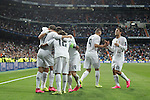 Real Madrid´s Cristiano Ronaldo celebrates a goal with his team mates during Champions League soccer match between Real Madrid and Shakhtar Donetsk at Santiago Bernabeu stadium in Madrid, Spain. Spetember 15, 2015. (ALTERPHOTOS/Victor Blanco)