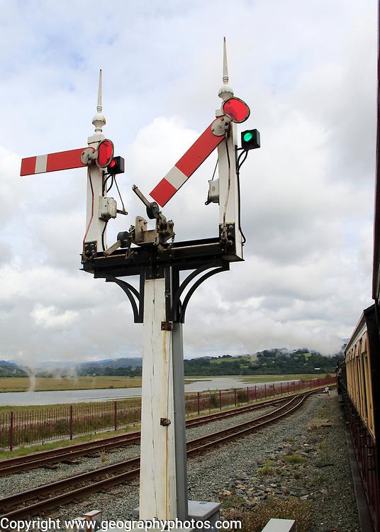 Single points sign on Ffestiniog railway, Porthmadog, Gwynedd, north west Wales, UK