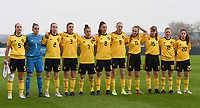 20190406  - Tubize , BELGIUM : Belgian team with Femke Bastiaen (1)   Sari Kees (2)   Romy Camps (3)   Ella Vierendeels (5)   Karlijn Knapen (7)   Amber Tysiak (8)   Lisa Petry (9)   Janne Geers (11)   Aster Janssens (15)   Stephanie Pirotte (18   Constance Brackman (20)   pictured during the soccer match between the women under 19 teams of Belgium and Finland , on the second matchday in group 2 of the UEFA Women Under19 Elite rounds in Tubize , Belgium. Saturday 6 th April 2019 . PHOTO DIRK VUYLSTEKE / Sportpix.be