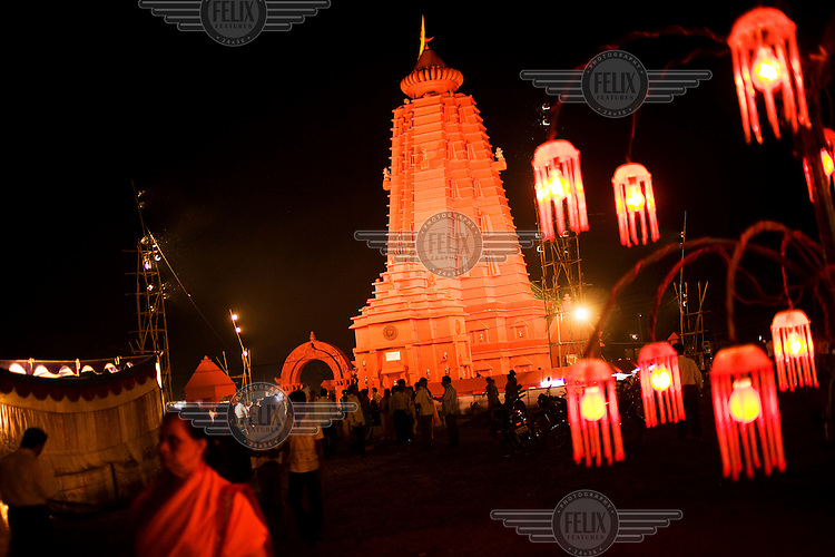 A building is lit up at a festival in Rourkela.