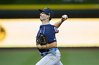 Myrtle Beach Pelicans relief pitcher Dillon Maples (35) in action against the Winston-Salem Dash at BB&T Ballpark on May 11, 2017 in Winston-Salem, North Carolina.  The Pelicans defeated the Dash 9-7.  (Brian Westerholt/Four Seam Images)