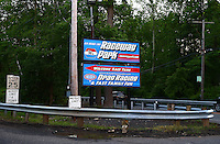 May 29, 2013; Englishtown, NJ, USA: General view signs showing the entrance off Pension Road to Raceway Park. Mandatory Credit: Mark J. Rebilas-