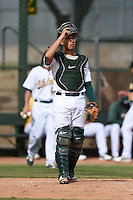 Oakland Athletics catcher Argenis Raga (23) during an Instructional League game against the San Francisco Giants on October 15, 2014 at Papago Park Baseball Complex in Phoenix, Arizona.  (Mike Janes/Four Seam Images)