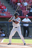 Daniel Carbonell #1 of the San Jose Giants bats against the High Desert Mavericks at Heritage Field on August 31, 2014 in Adelanto, California. High Desert defeated San Jose, 9-6. (Larry Goren/Four Seam Images)