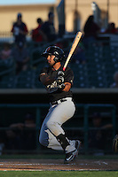 Jamie Westbrook (6) of the Visalia Rawhide bats during a game against the Lancaster JetHawks at The Hanger on June 16, 2015 in Lancaster, California. Lancaster defeated Visalia, 11-3. (Larry Goren/Four Seam Images)
